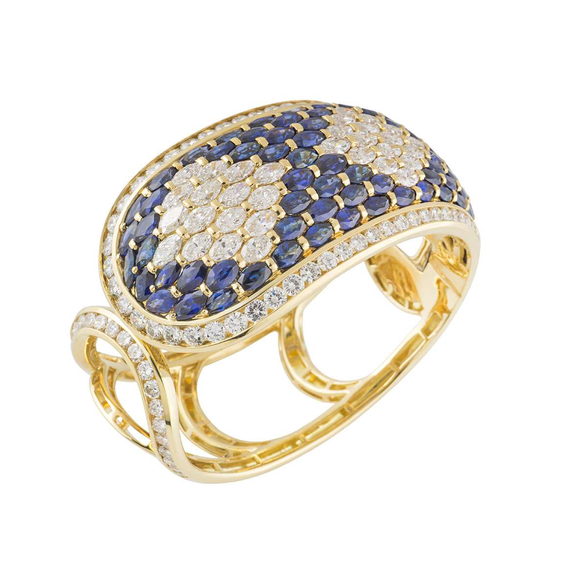 Yellow Gold Sapphire and Diamond Cuff Bangle